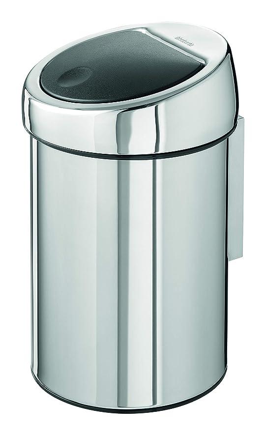 Brabantia Touch Bin - Cubo de Basura, 3 litros, Cubo Interior de plástico extraíble, Acero Brillante