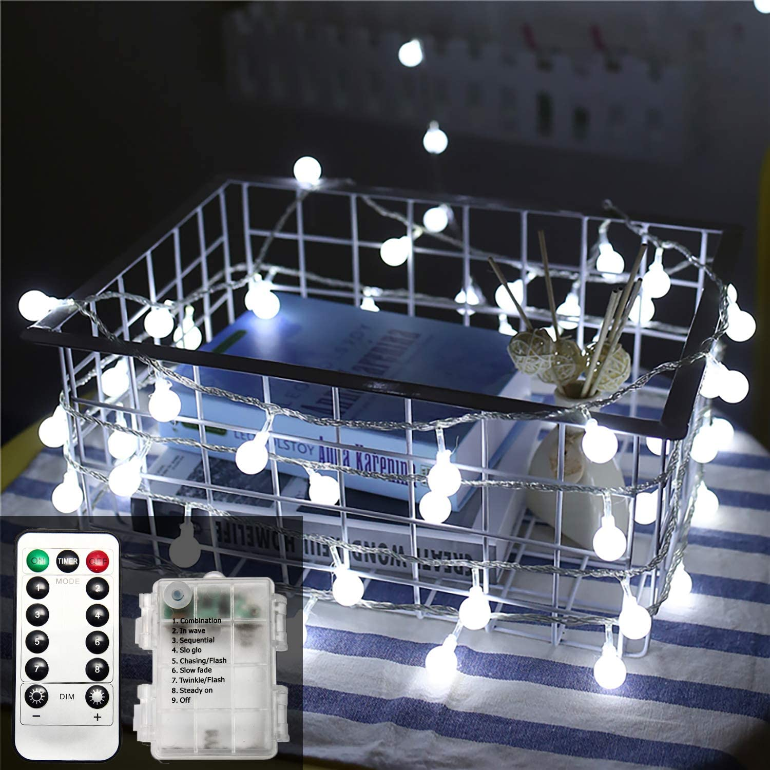 ZOUTOG Battery Operated String Lights, 49ft /15m 120 LED Bulb White Globe String Lights with Remote Controller, Decorative Timer Fairy Light for Christmas/Wedding/Party Indoor and Outdoor - White