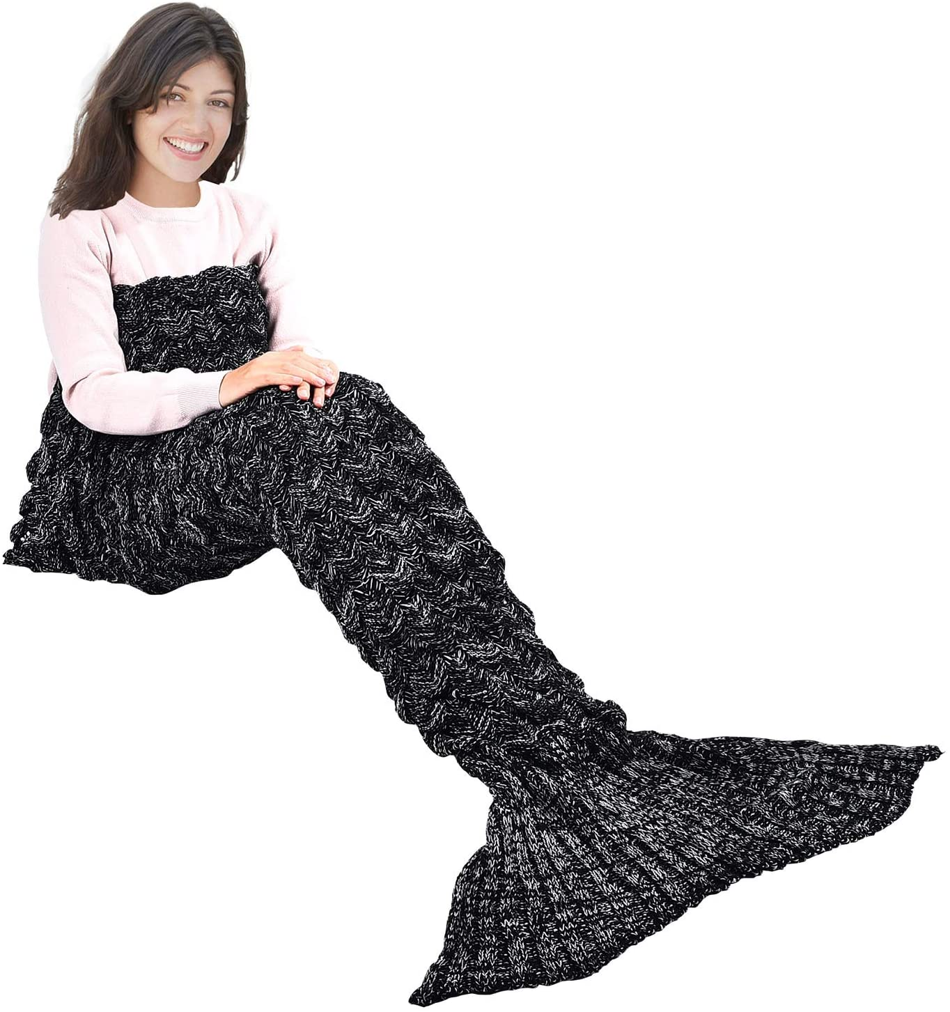 Adult Kid Fish Mermaid Scale Crocheted Soft Sofa Blanket Knit Girls Warm Gifts