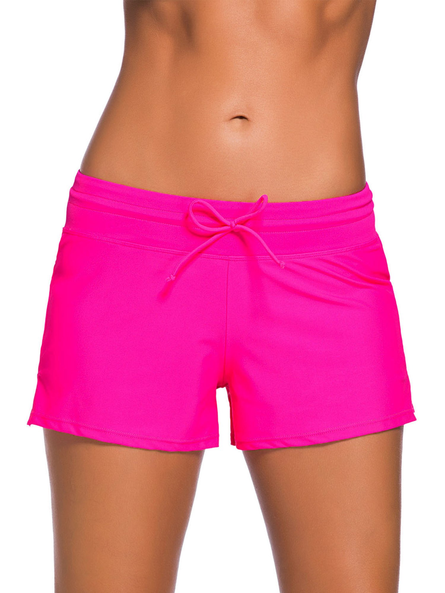 Satinior Women Swimsuit Shorts Tankini Swim Briefs Side Split Plus Size Bottom Boardshort Summer Beach Swimwear Trunks (L Size, Rose Red)