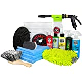 Chemical Guys HOL126 14-Piece Arsenal Builder Car Wash Kit with Foam Gun, Bucket and (5) 16 oz Car Care Cleaning Chemicals (W