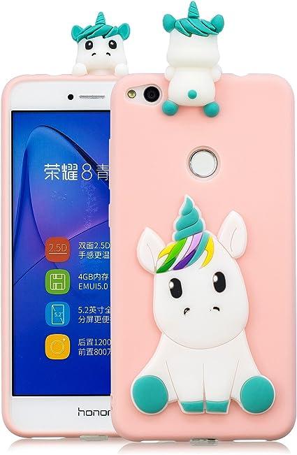 Coque Huawei p8 Lite 2017 Silicone avec Motif 3D Licorne Rose Housse pour Huawei p8 Lite 2017 Ultra Fine TPU Souple Étui Cute Mignon Slim Soft ...