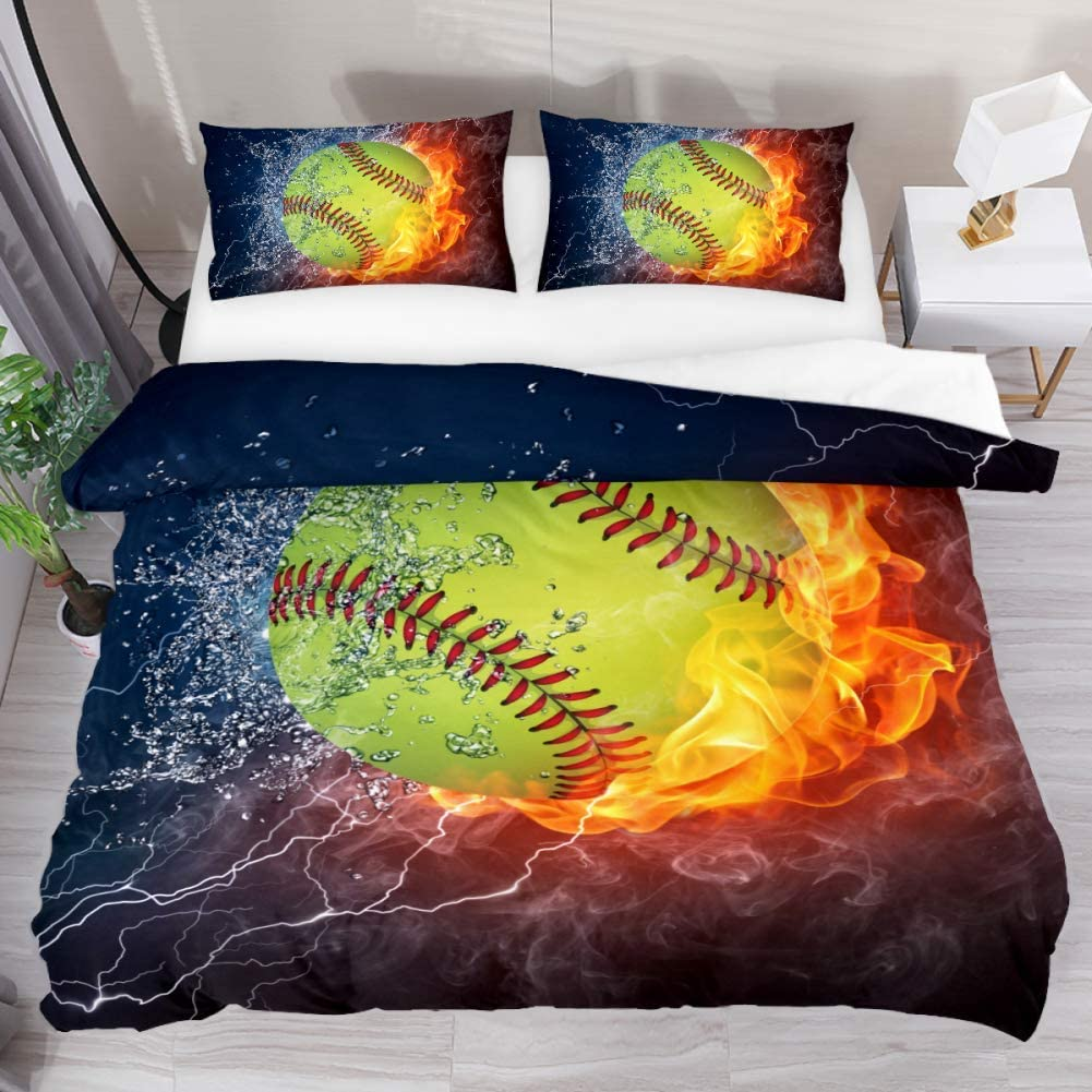 Josid Fire and Ice Softball Duvet Cover Set,Comforter Cover 3 Pieces Bedding Set with Zipper Closure, 2 Pillow Shams 1 Duvet Cover,Bedspread for Childrens/Kids Twin Size