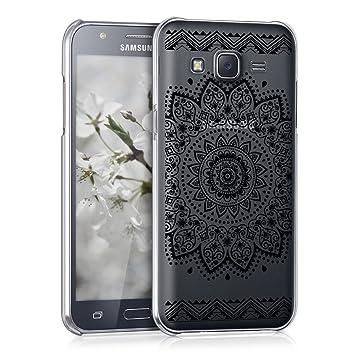 kwmobile Funda para Samsung Galaxy J5 (2015) - Carcasa de [plástico] para móvil - Protector [Trasero] en [Negro/Transparente]