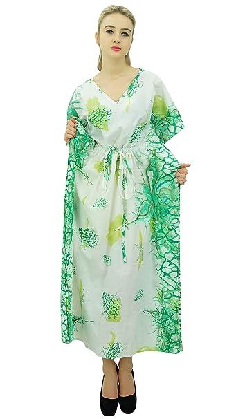 d9fa675d41 Phagun Women Caftan Cotton Bohemian Kaftan Nightwear Printed Drawstring Maxi -8