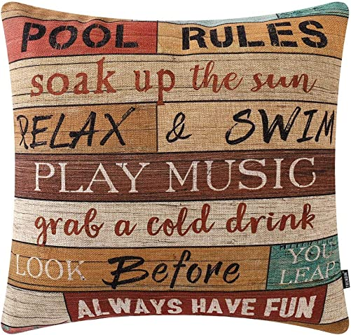 TRENDIN Wooden Plank Pool Rules Throw Pillow Cover 18×18 inch Pool Decor Cotton Linen Cushion Case