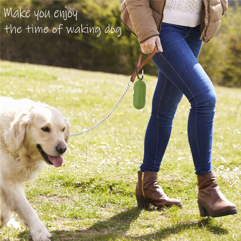 ST Bolsas para excrementos de Perro/Biodegradables Bolsas Caca 16 Rollos Aditivos EPI con Dispensador/y Clip