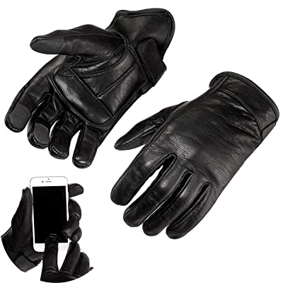Viking Cycle Premium Heavy Duty Black Genuine Leather Water-Resistant Touch Screen Motorcycle Riding Gloves For Men (Black, 2XL): Automotive