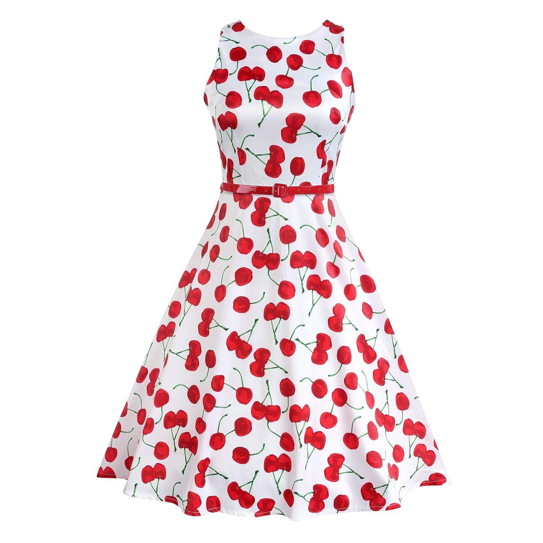 ACEVOG Damen Kleid Casual Ärmlos Party Kleid mit Gürtel Cocktail Swing Dress Herstellergröße: S-XXL