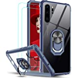 LeYiCase forHuawei P30 Pro Phone Case with 2 Pack 3D Pet Screen Protector, Crystal Clear Ring Holder Military Air Cushion S