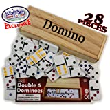 Deluxe Double Six (6) Color Dot, White Dominoes 28 Piece Set in Wooden Case