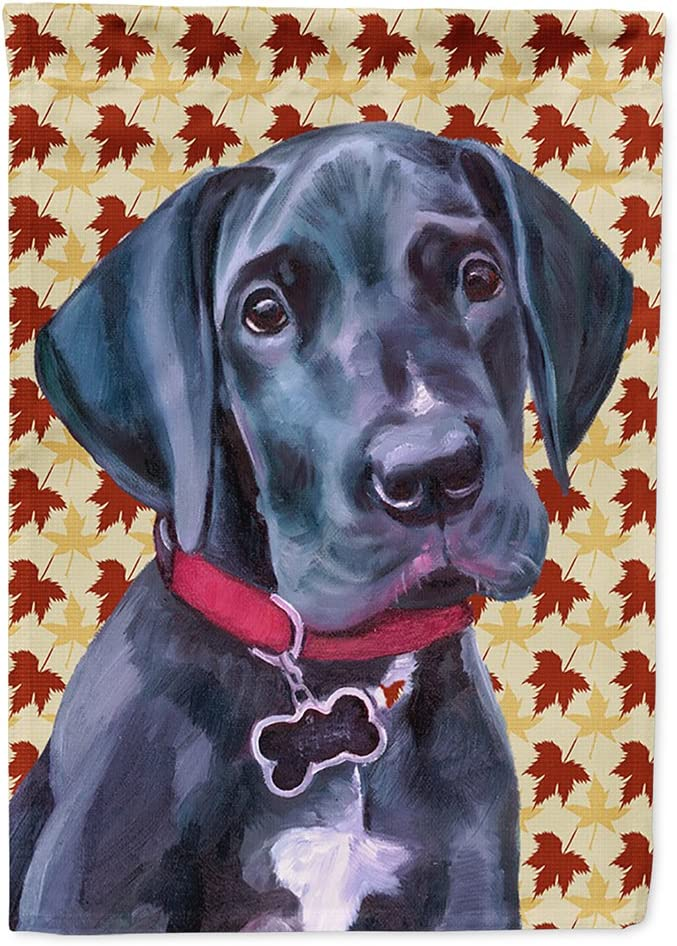 Caroline's Treasures LH9558GF Black Great Dane Puppy Fall Leaves Flag Garden Size, Small, Multicolor