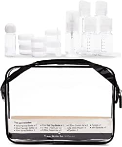 16 Pack Plastic Airline TSA Approved Travel Accessories Bottles Set - Holds Toiletries, Lotions, Liquids, Shampoos - Includes Spray Bottle, Pump Bottles, Squeeze Bottles, Jars,& Travel Bag