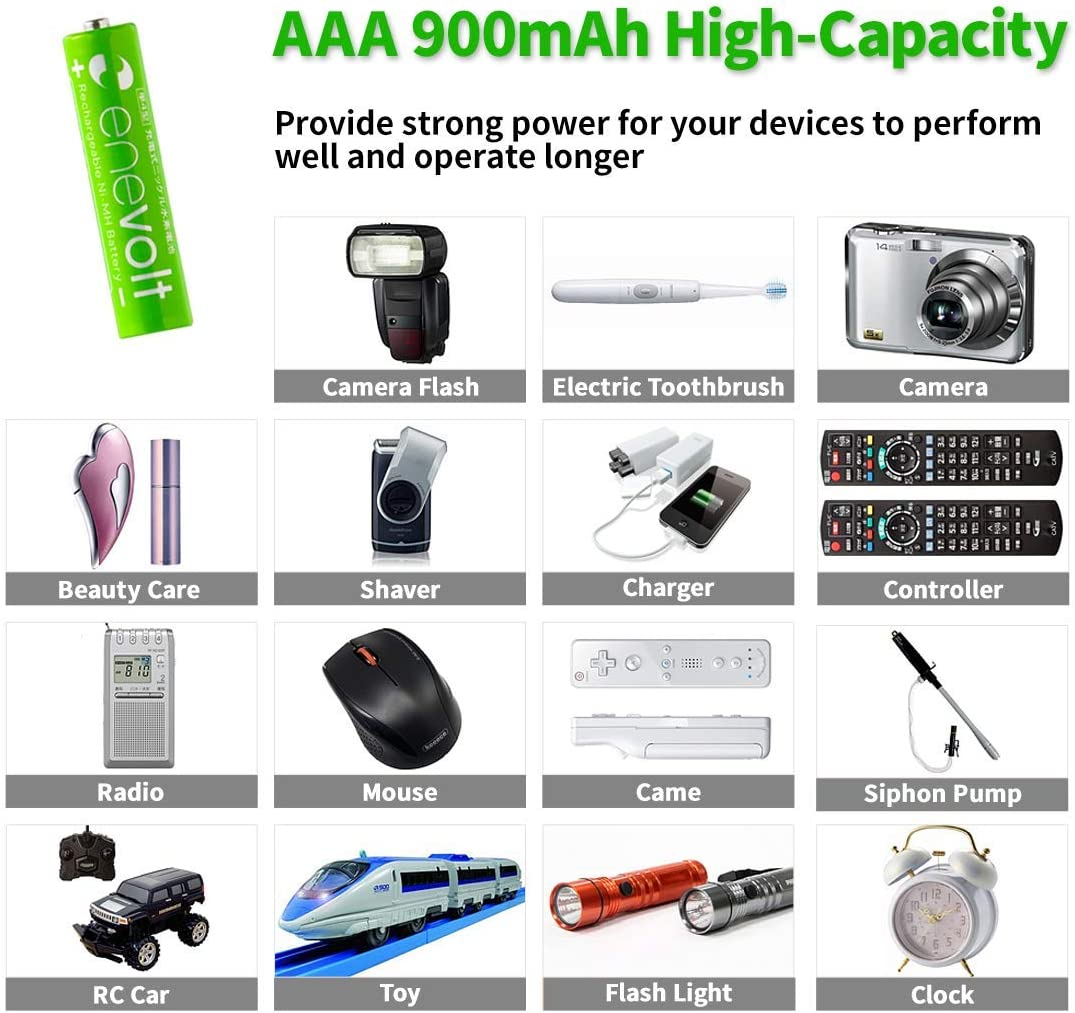 Pre-Charged Case Included enevolt AAA 900mAh Ni-MH Rechargeable Batteries with 1,000 Recharge Cycles and Low Self-Discharge 4 Pack