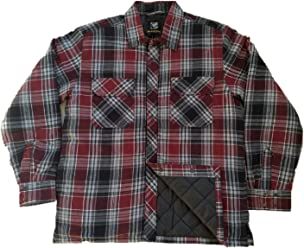 BC Clothing Mens Plaid Shirt Jacket with Quilted Lining