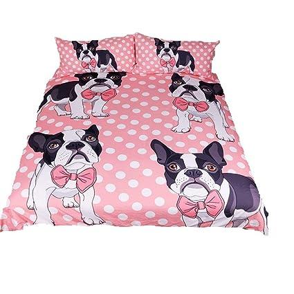 Stillshine Juego de Funda Nórdica y Funda de Almohada Diseños Perros Cachorro Bulldog Ropa de Cama