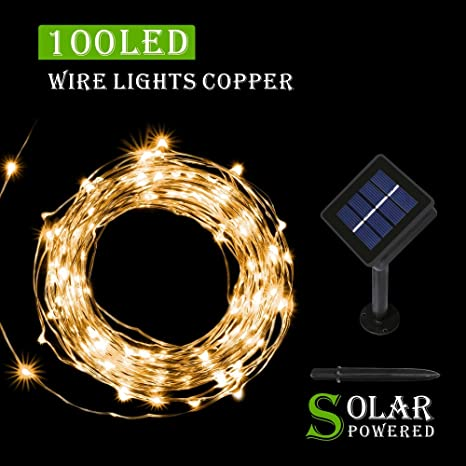 MEIKEE 33 ft decoracion luces led navidad , 100 LEDS de alambre de cobre impermeable estrellado