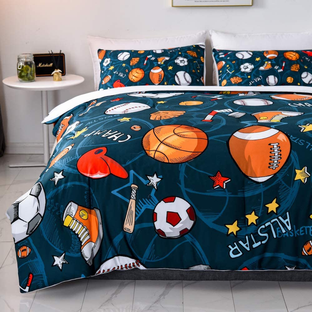 SHINICHISTAR Boys Comforter Set,Baseball and Football Bedding Queen Size for Teens,Sports Fans.
