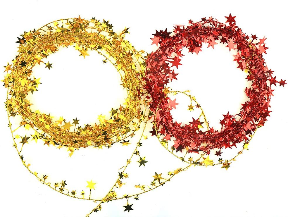 Blue and Red VEYLIN 50ft Star Shaped Tinsel Wire Garland for Christmas Trees Decoration