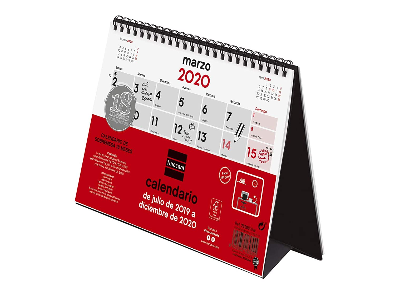 Amazon.com : Desktop Calendar 18 Months 2019-2020 Spanish ...