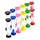 Dsmile Sand Timer,Plastic Hourglass Timer,Colorful Sandglass Hourglass Sand Clock Timer 30sec / 1min / 2mins / 3mins / 5mins / 10mins (12pcs) (Tamaño: 12pcs)