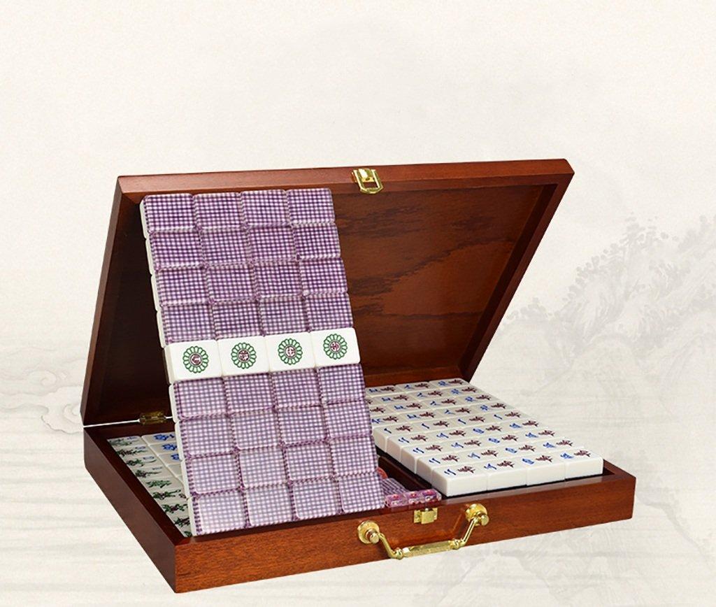 Mahjong Cristal acrílico Gran Tamaño Mahjong hogar 37mm ~ 39mm Mano-Mahjong Madera en Caja Mah Jong (Tamaño : 8)