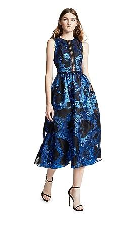 222fe8e4 Marchesa Notte Women's Sleeveless Metallic Fils Coupe Cocktail Dress,  Royal, ...