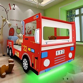 Festnight Lit Thematique Enfant Voiture De Camion De Pompiers Avec