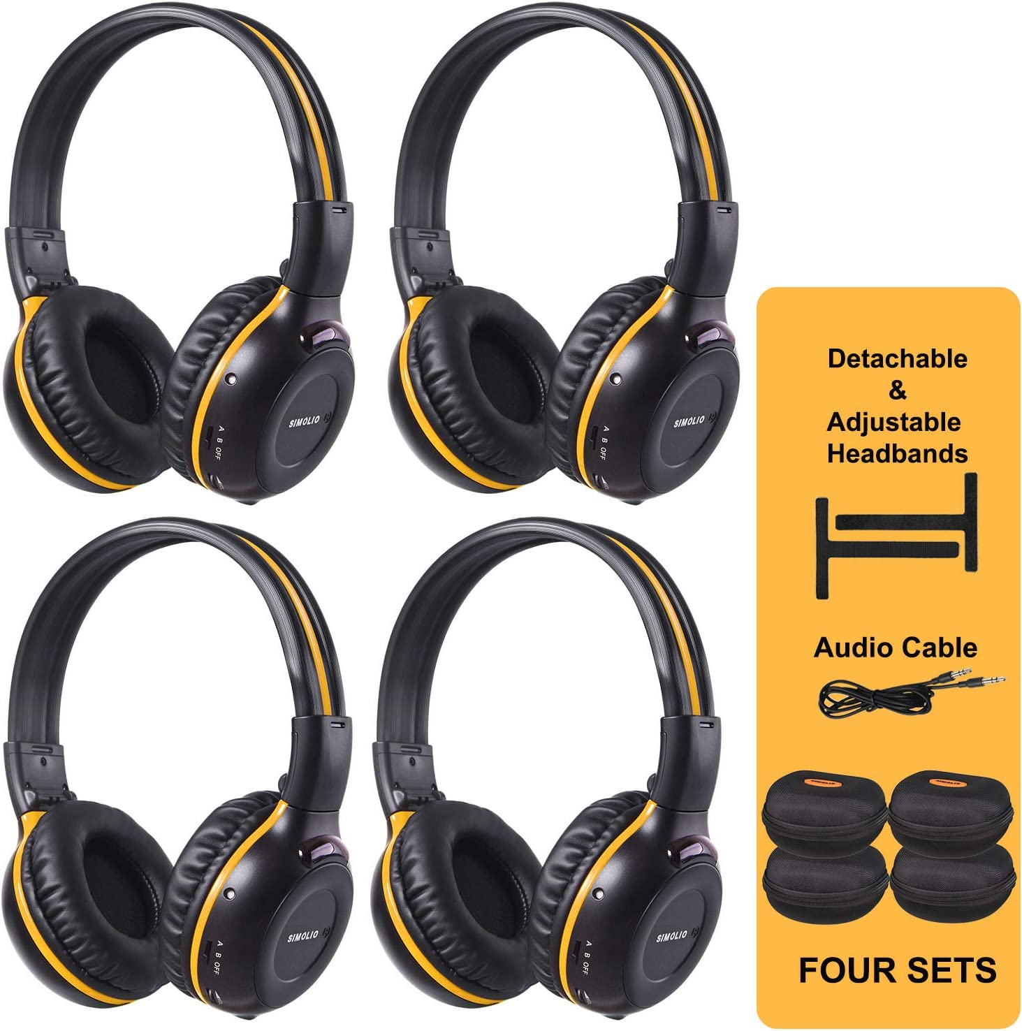 Amazon Com Simolio 4 Pack Of Wireless Dvd Headphones With Hard Eva Cases Car Kid Ir Headphones Infrared Wireless Headphones For Headrest Car Video On Ear Car Headset 2 Channel Not Work On 2017 Gm S Or Pacifica