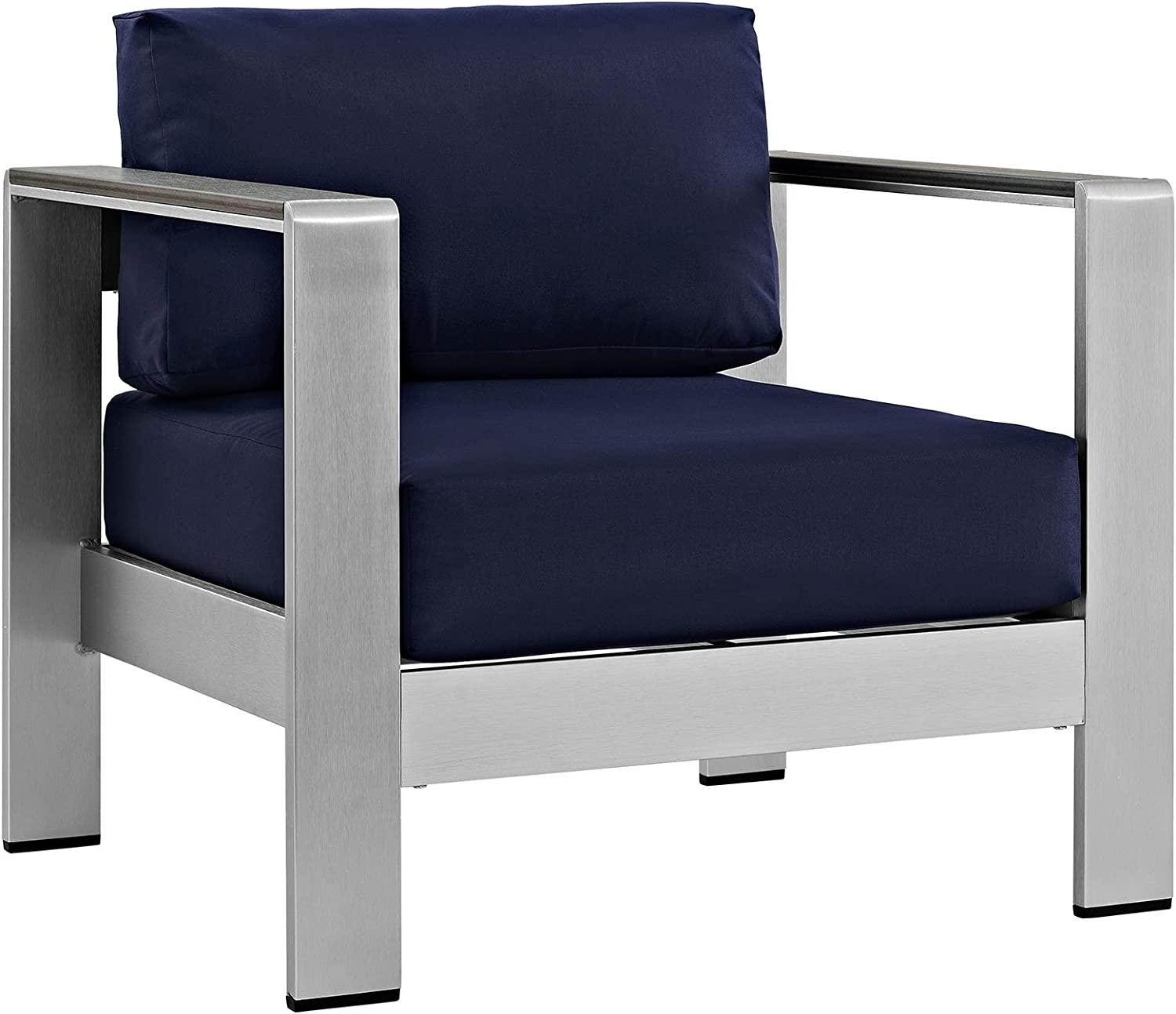 Modway Shore Aluminum Outdoor Patio Armchair in Silver Navy