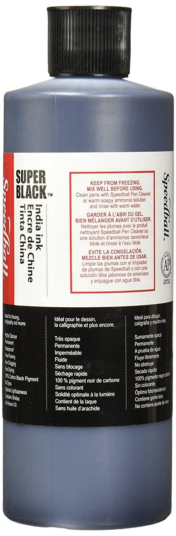 Speedball. 404696 3378 Super Black India Ink, 16 oz. Bottle, 7.6'' Height, 2.1'' Width, 2.4'' Length by Speedball. (Image #2)