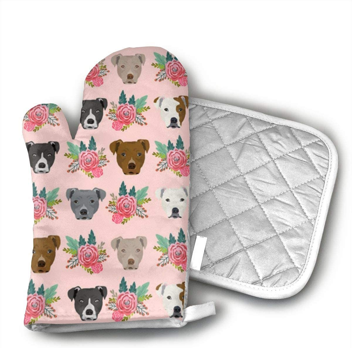 STRWBfhk Pitbull Floral Head Oven Mitts,Kitchen Oven Glove Suitable for Baking, Grilling, Cooking, Barbecue