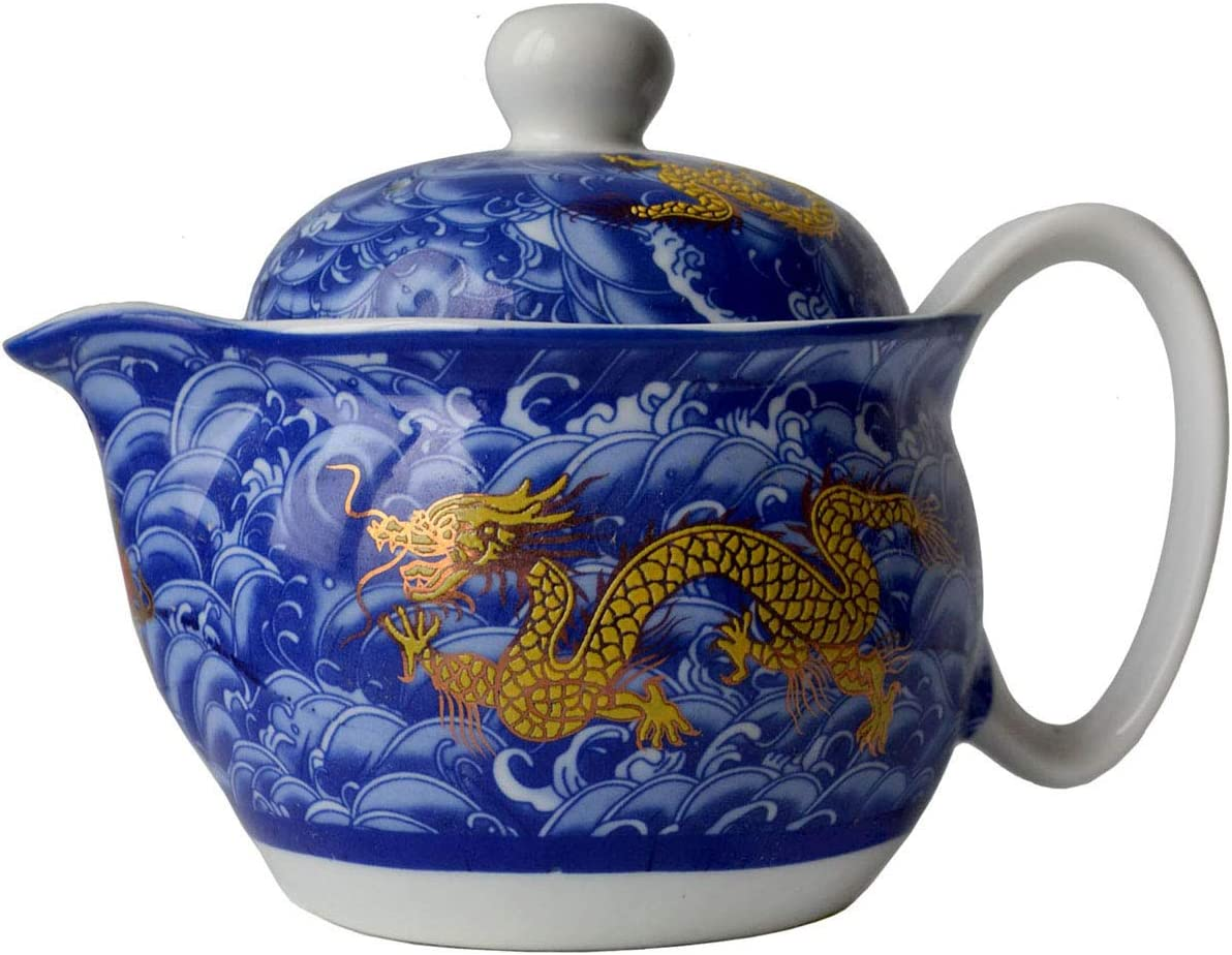 Yxhupot Teapot Blue China Porcelain 12oz Dragon Stainless Steel Filtration Mash Infuser Tea (cobalt blue)