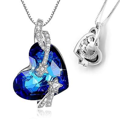 925 Silber Damen Halskette Herz Kristall Liebe Schmuck Geschenk Frauen Love Blau