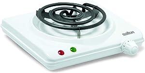 Salton HP1305 Double Coil Portable Electric Cooktop, 2 lb, White