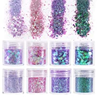 8 Boxes Glitters Sequins, Chunky and Fine Glitter Mixed for Crafts Body Face Hair...