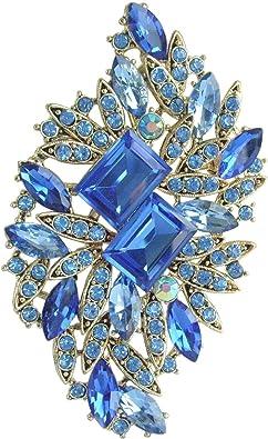 Sindary Wedding 2.76 Silver-tone Clear Austrian Crystal Flower Brooch Pin Pendant
