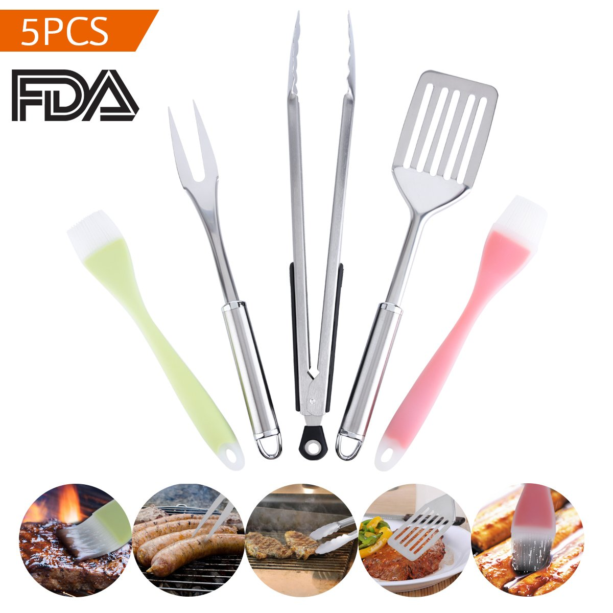 BBQ Grill Tools Set Kitchen Tools Stainless Steel Tongs 14 Inch Spatula 14Inch Fork 13 Inch Silicone Brush 10 Inch Set of 5 Joy Looker COMINHKPR138740