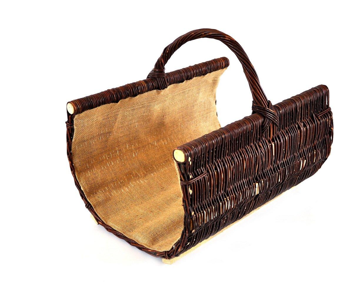 Cesta para leñ a de mimbre Asa de cesta para madera reforzado con forro de yute trenzado K12 –  574 _ 1 _ G _ Sch unbekannt