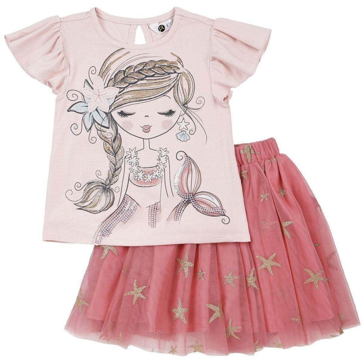 Petit Lem Little Sea Princess Girl 2pc Set Top and Skirt Knit