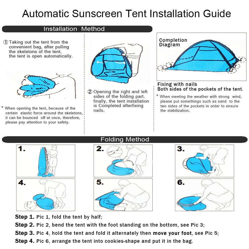 KEESIN Autom/ático Tiendas instant/áneas Refugio port/átil para el Sol con protecci/ón UV y dise/ño Resistente al Agua para Acampar en la Playa al Aire Libre Senderismo Picnic 1-3 Personas