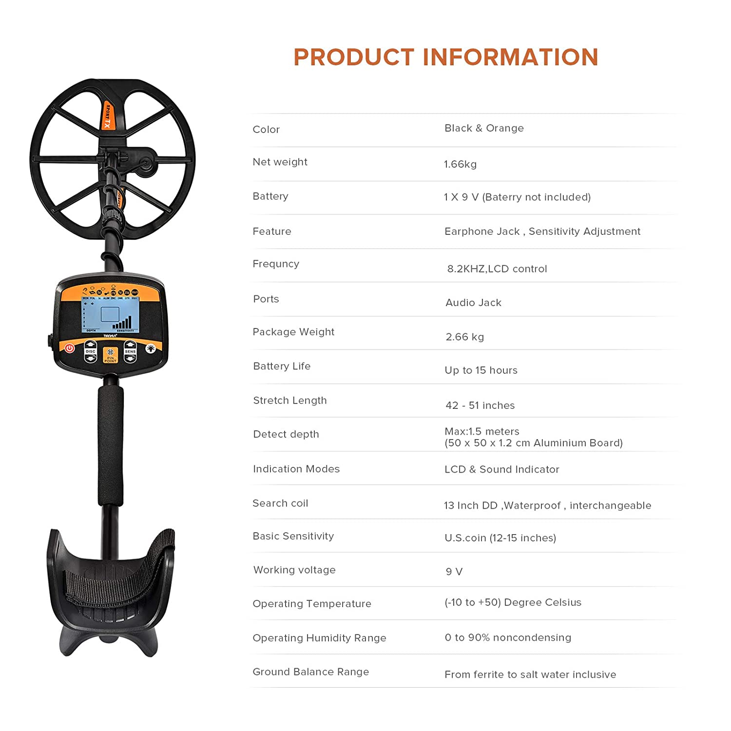 HOOMYA Metal Detector High Sensitivity Precise Positioning Detecting Professional with Backlight LCD Display and waterproof Search Coil TX960