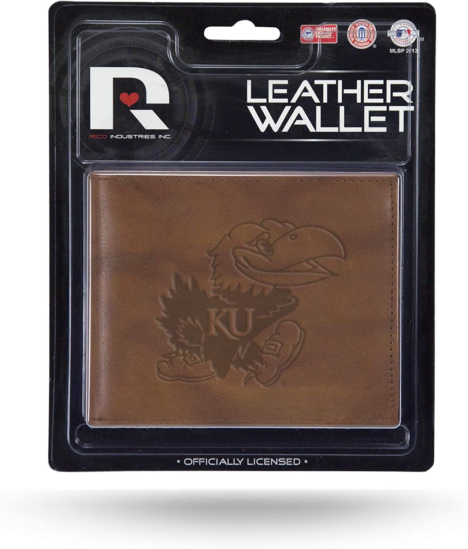 Rico NCAA Arkansas Razorbacks Embossed Leather Billfold Wallet with Man Made Interior