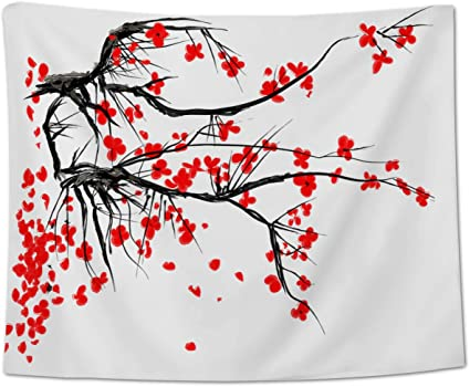 Tapiz para colgar en la pared, diseño de flores de tinta ...