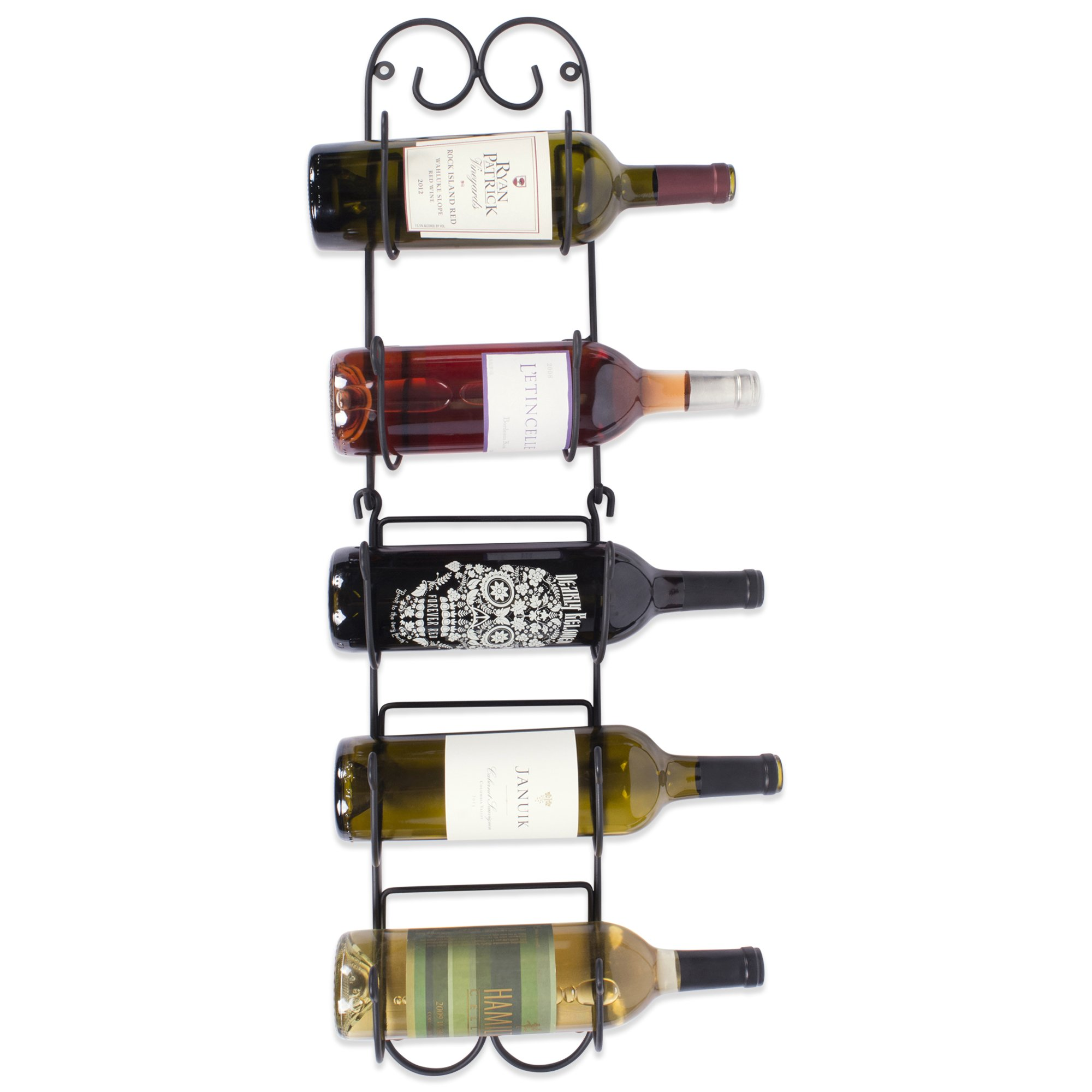 Home Traditions Z01662 Wall Mounted Wine Rack Holds up to 6 Bottles, Small, Black