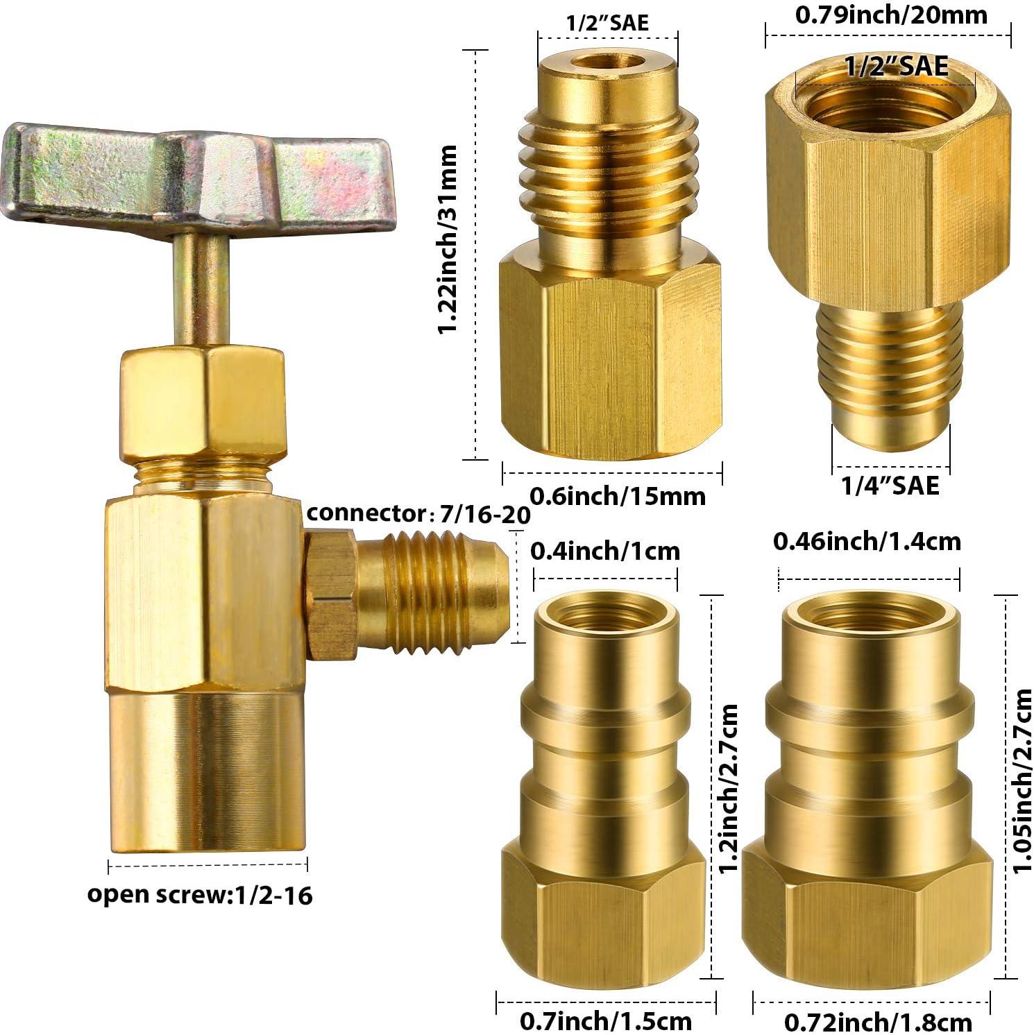 R12 to R134A Conversion Kit BPV-31 Bullet Piercing Tap Valve R134A Refrigerant Opening Valve 8401 Can Tap 6015 6014 Refrigerant Vacuum Pump Adapter Retrofit Valve Convert Adapter for A//C Refrigerant