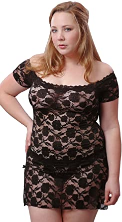 fd286ab9d Vx Intimate Women s Super Plus Size Stretch Lace Babydoll Mini Dress with  Thong  5095xx