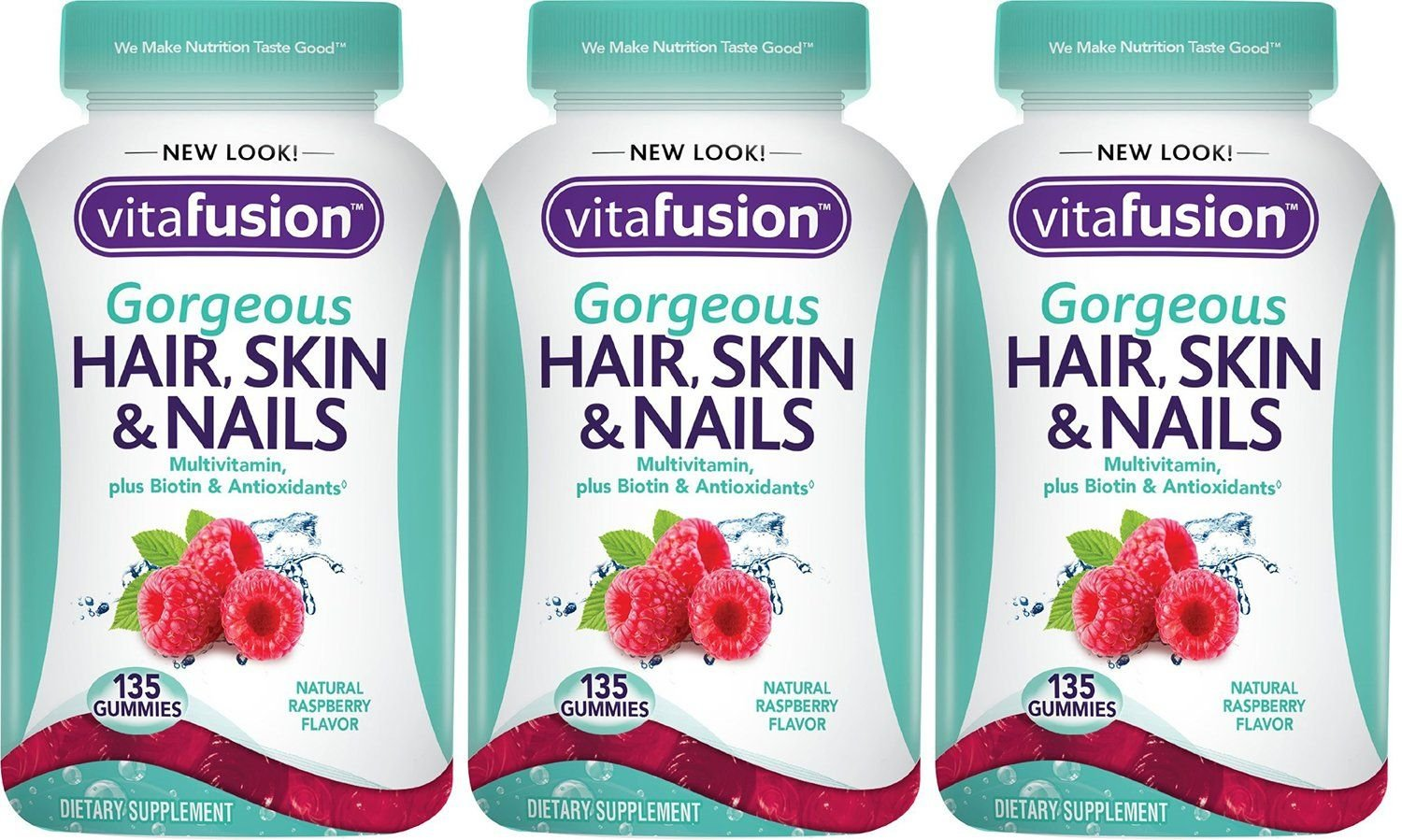 Vitafusion Gorgeous Hair, Skin & Nails gSQjY Multivitamin, 135 Count (Pack of 3) QIwew