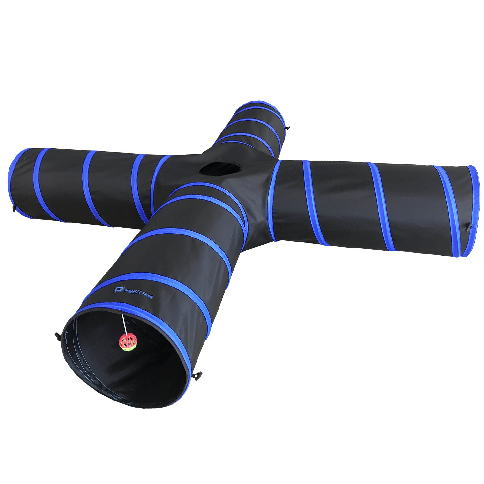 Purrfect Feline New Cat tunnel Design, Collapsible 4-way Cat Tunnel Toy with Crinkle (Medium, Dark Blue)