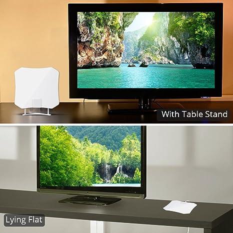 ANTOP AT-132 Antena de TV de Alta Ganancia de Papel, 30 Millas de Largo Alcance 360 Grados de recepción para televisores OTA de Alta definición/4K UHD, Cable coaxial de 10 pies, Color